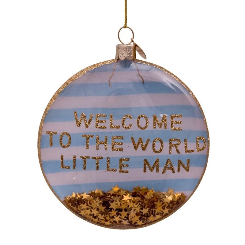 VS Disc glass white/blue welcome little man H10cm