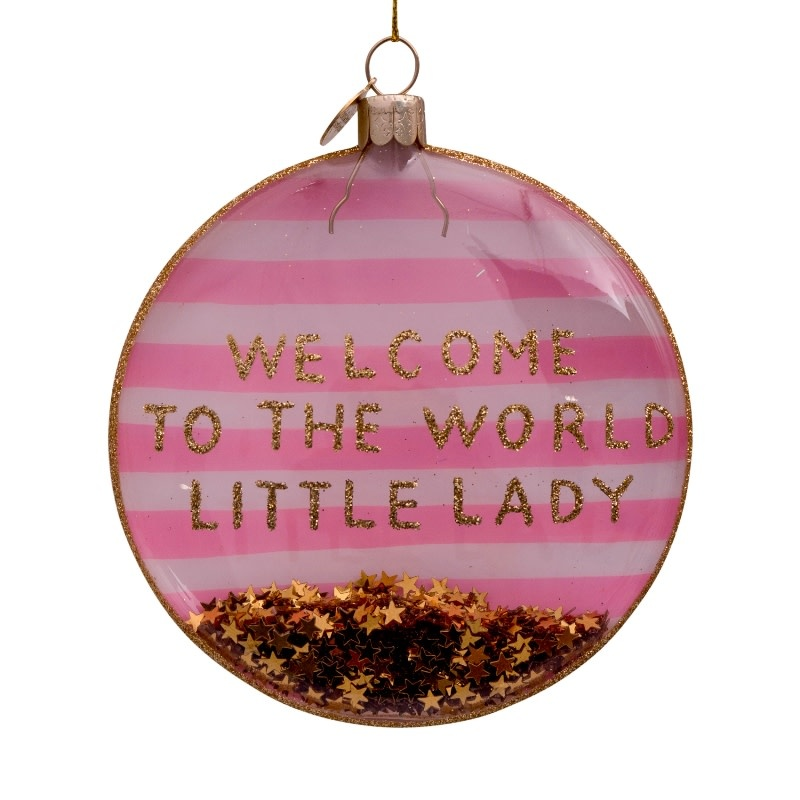 VS Disc glass white/pink welcome little lady H10cm