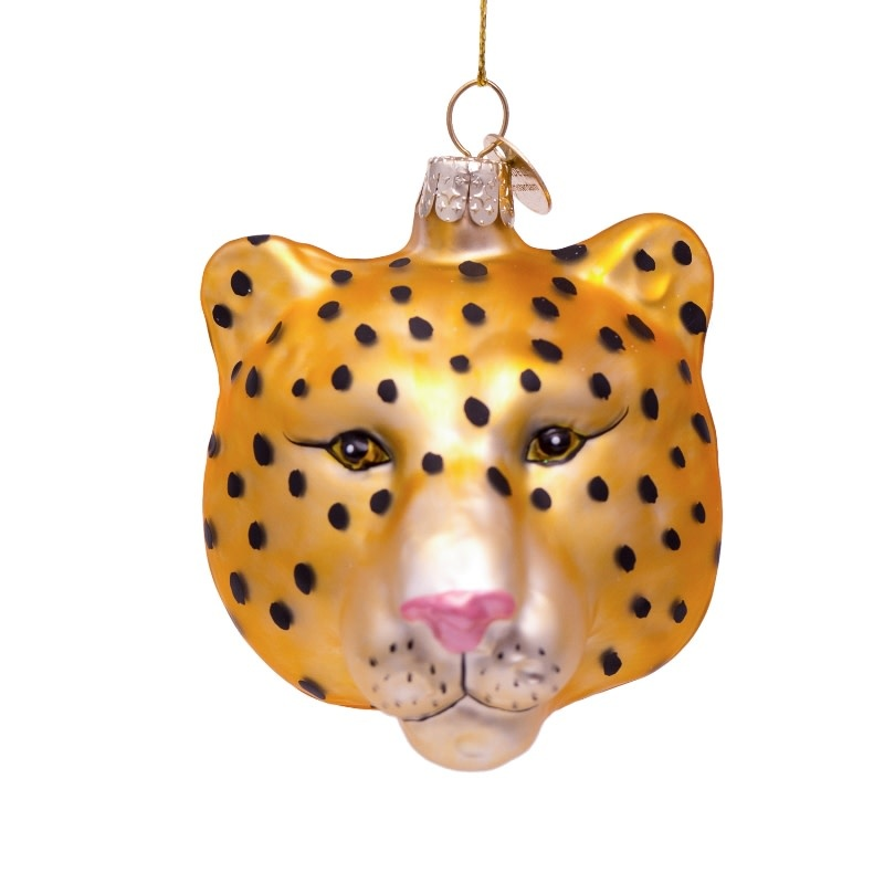 VS Ornament glass gold panther head H7.5cm