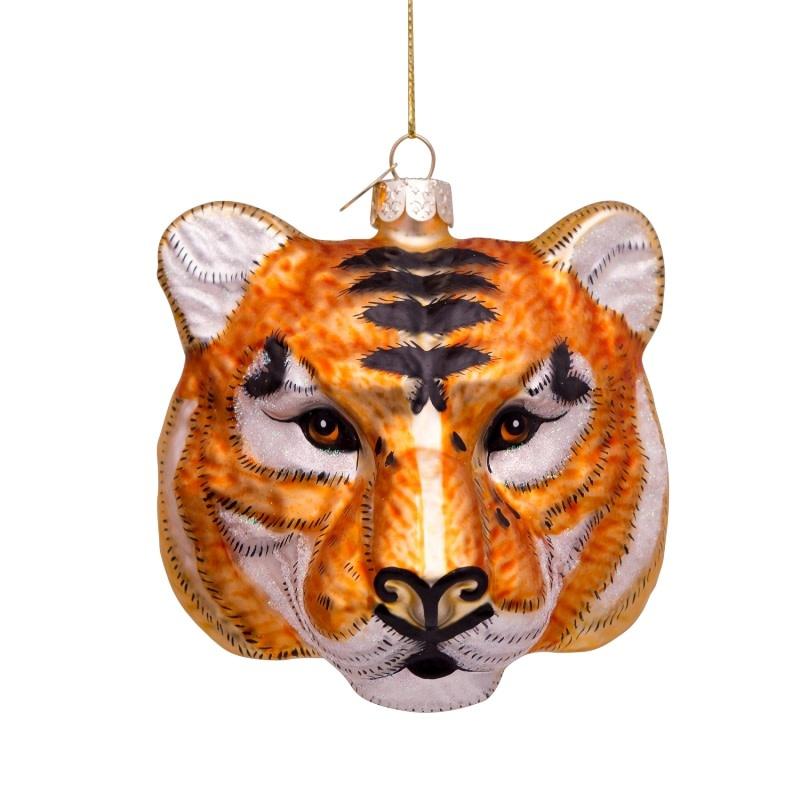 VS Ornament glass gold/black tiger head H11cm