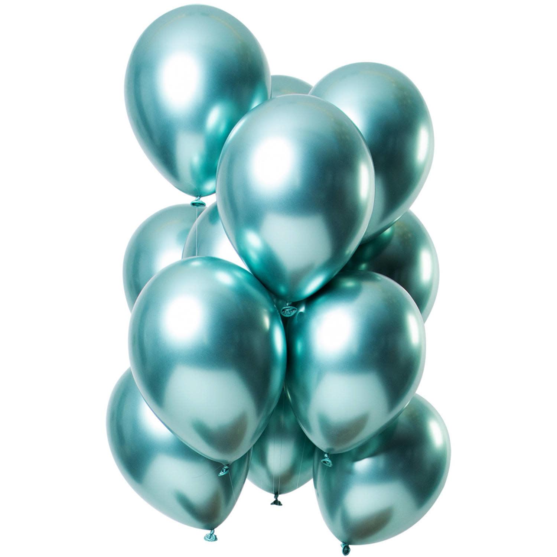 FT Chrome balloons aqua green 30 cm 12 x