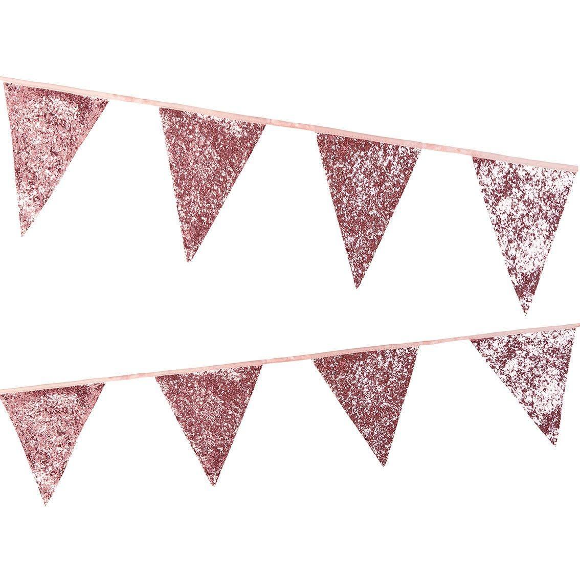 TT Luxe Pink Glitter Bunting, 3M