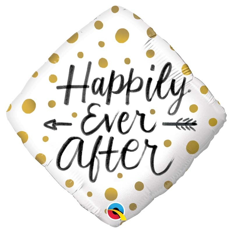 SMP happily ever after gold dots square foil balloon 45 cm