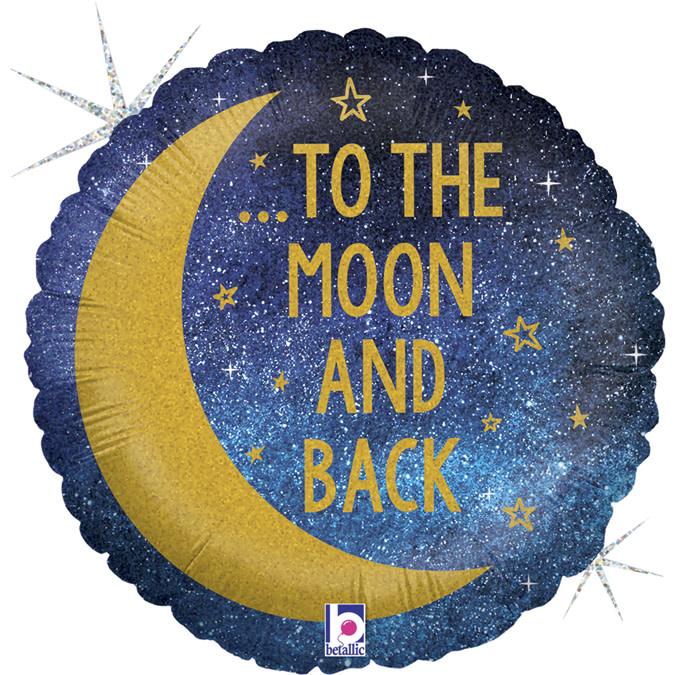 SMP moon & back foil balloon 45 cm