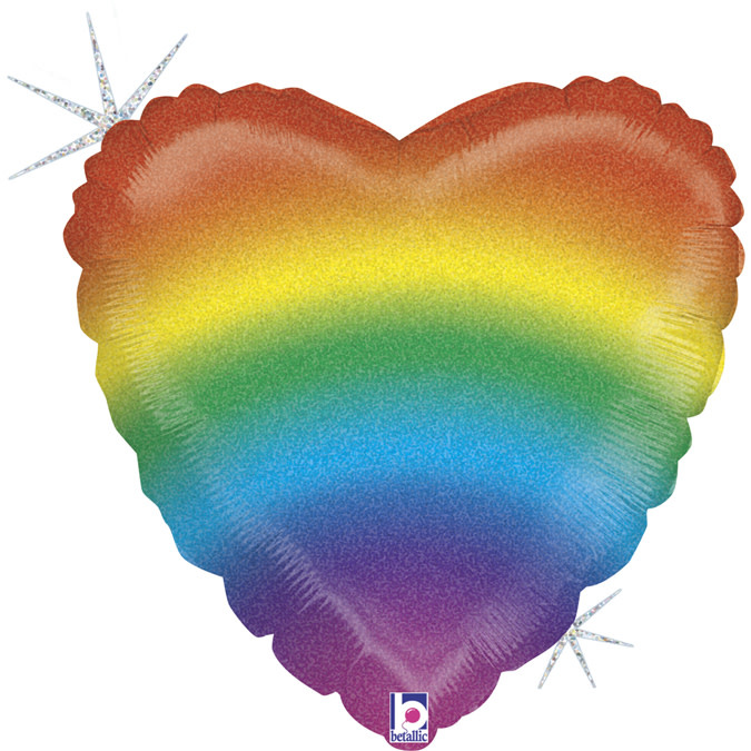 SMP glitter rainbow heart foil balloon 45 cm