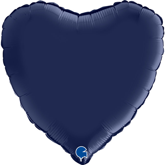 SMP heart satin navy blue foil balloon 45 cm