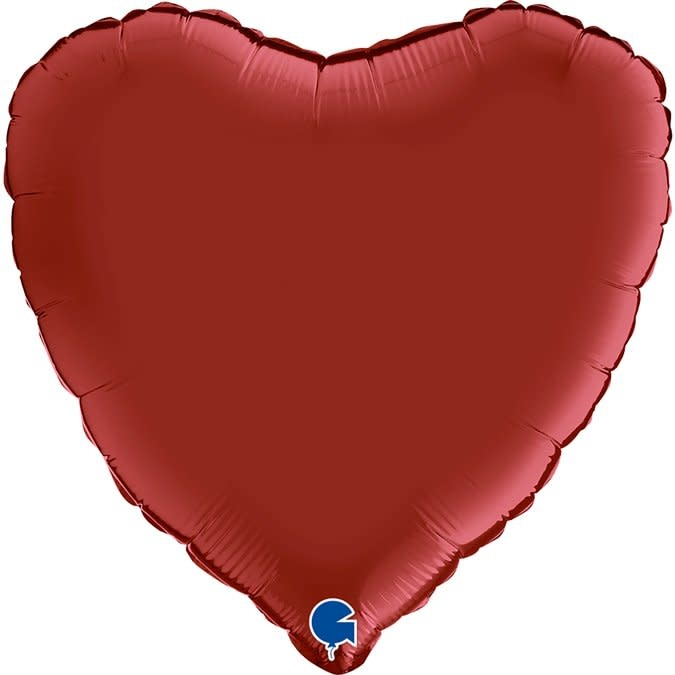 SMP heart satin ruby red foil balloon 45 cm