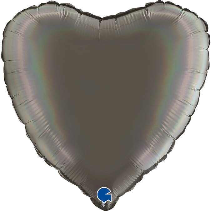 SMP heart holographic grey platinum foil balloon 45 cm