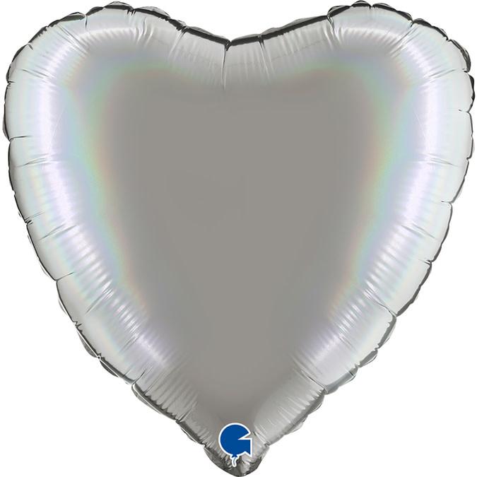 SMP heart holographic pure platinum foil balloon 45 cm