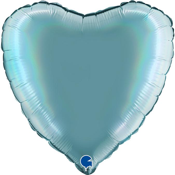 SMP heart holographic tenerife sea platinum foil balloon 45 cm