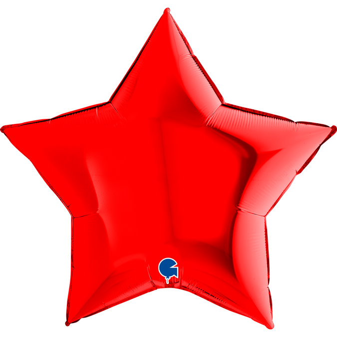 SMP star foil balloon red 90 cm