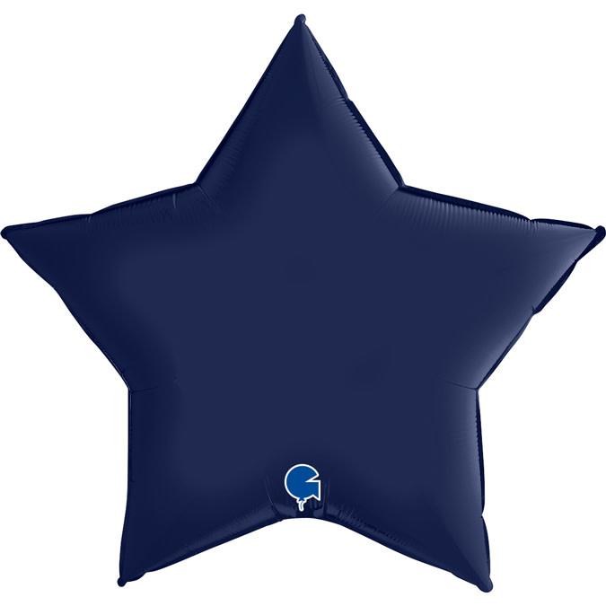 SMP star satin foil balloon blue navy 90 cm