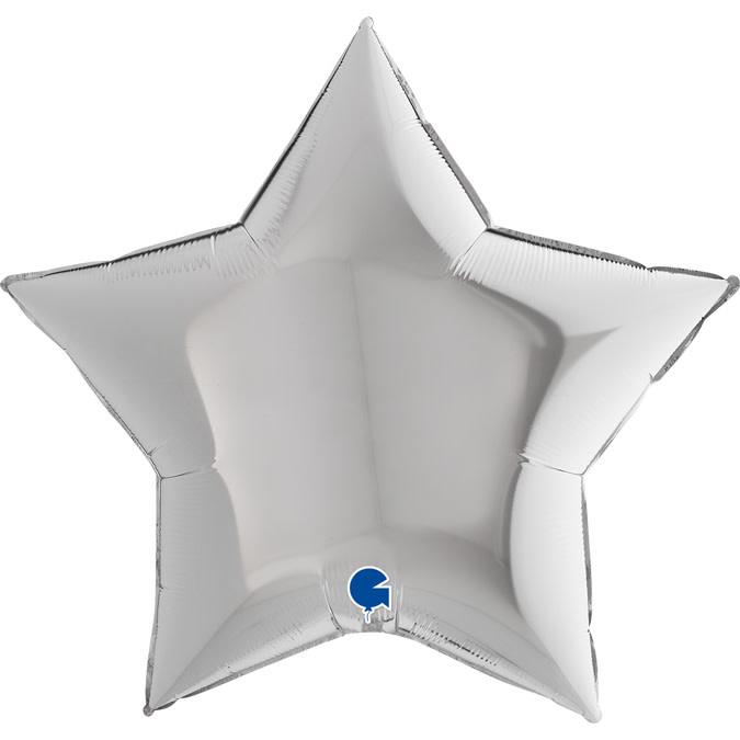 SMP star foil balloon silver 90 cm