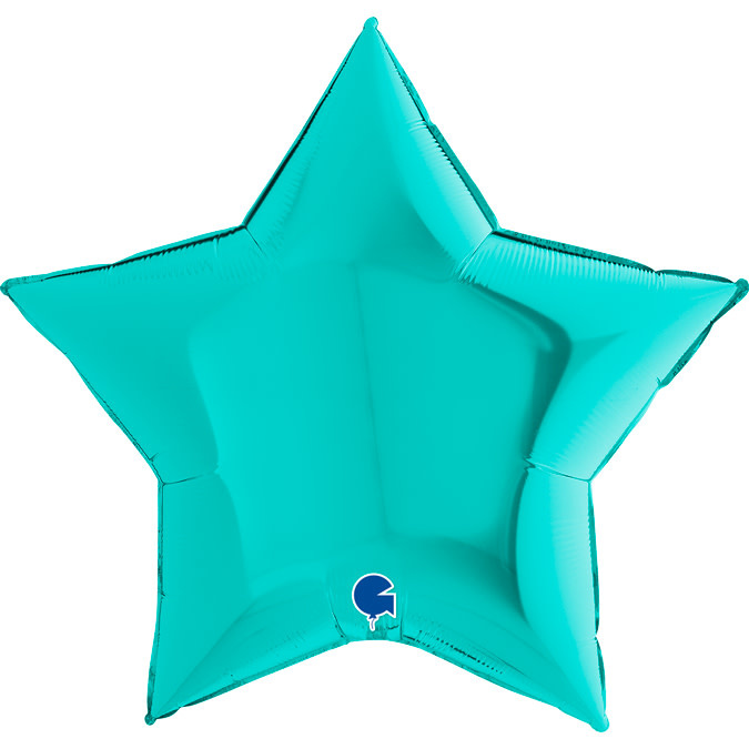 SMP star foil balloon turquoise 90 cm