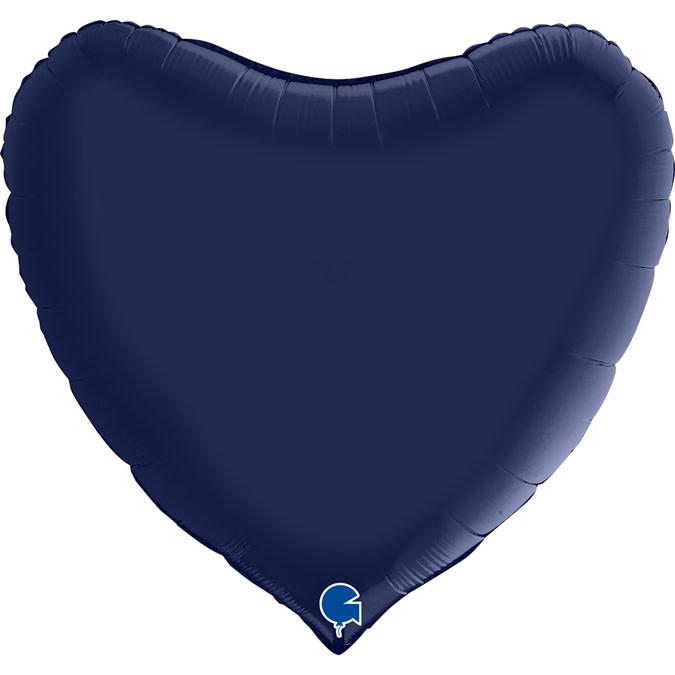 SMP heart satin navy blue 90 cm