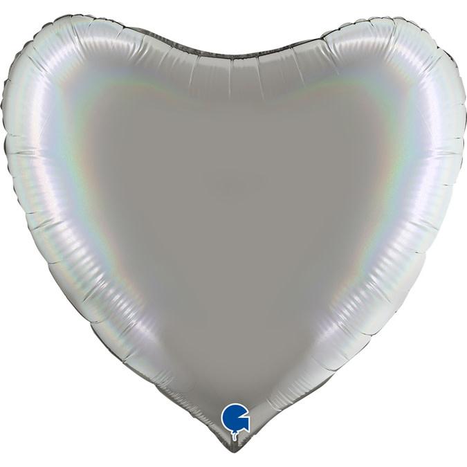 SMP heart foil balloon holographic pure platinum 90 cm