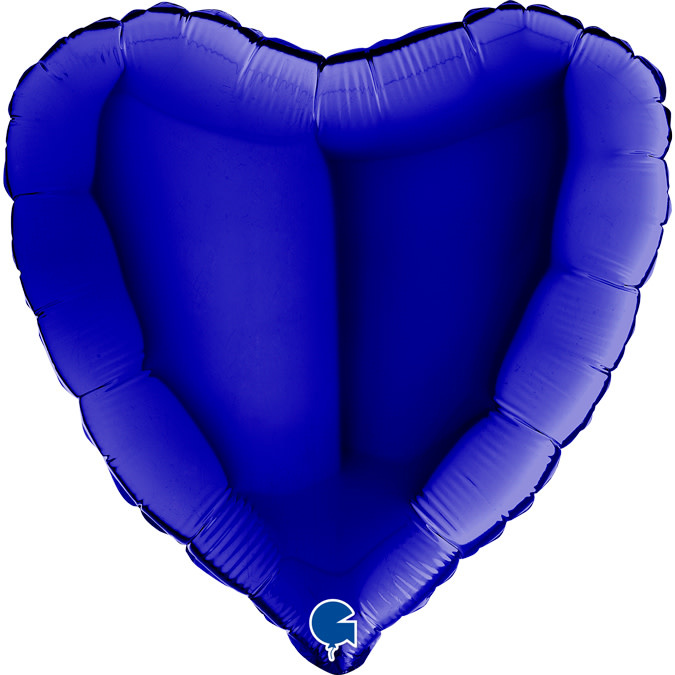 SMP heart foil balloon blue navy 45 cm