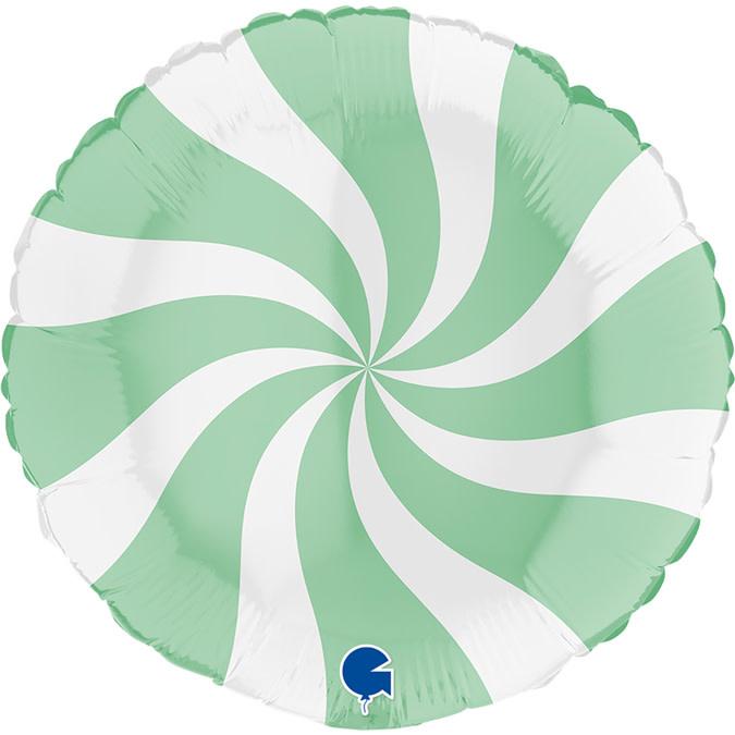 SMP swirl matte mint circle foil balloon 45 cm