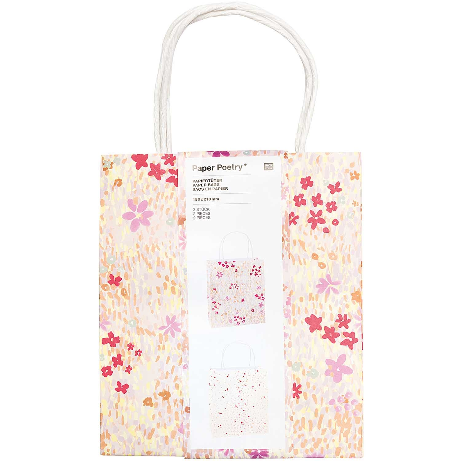 RICO PAPER BAG,CRAFTED,PINK FSC MIX 2 x