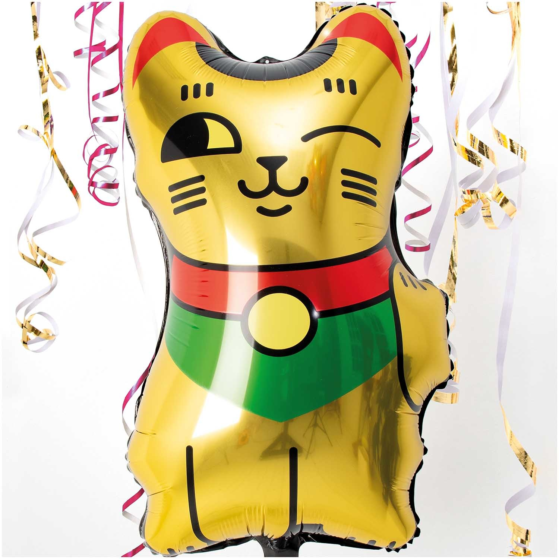 RICO FOIL BALLOON, LUCKY CAT, GOLD 70 cm