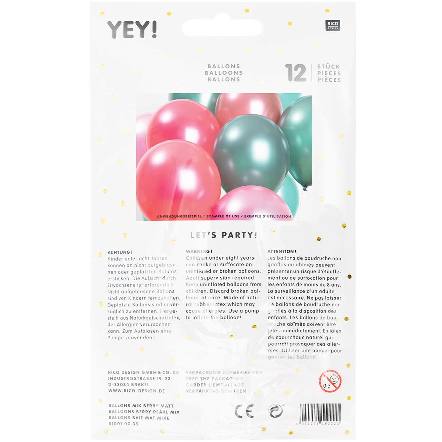 RICO BALLOONS BERRY PEARL MIX 30 cm 12 x