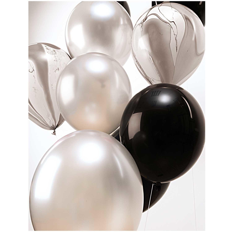 RICO BLACK/WHITE MIX balloons 30 cm 12 x