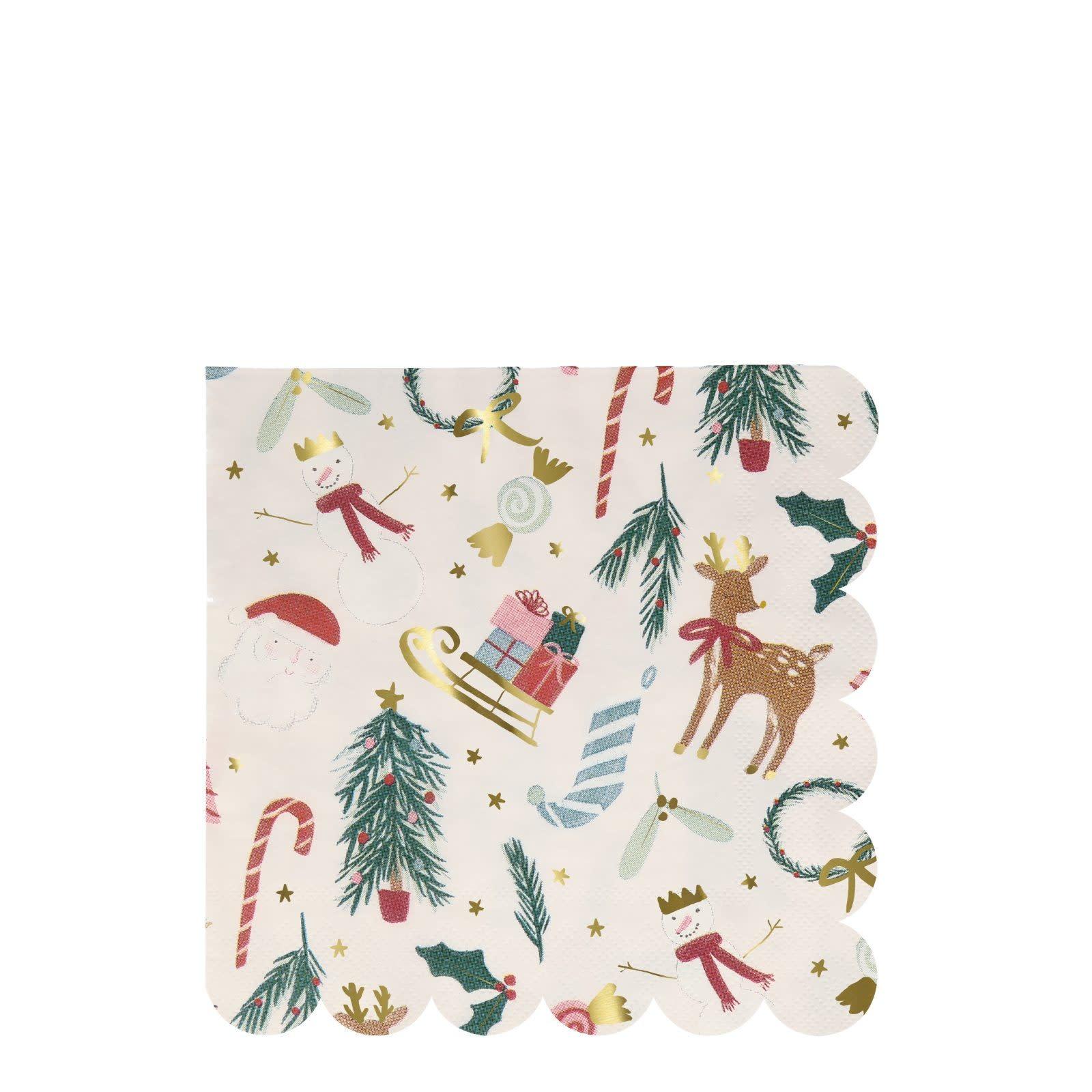 MERIMERI Festive motif napkins L