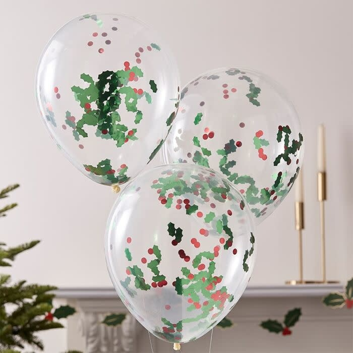 GINGERRAY CHRISTMAS HOLLY AND BERRIES CONFETTI PARTY BALLOONS