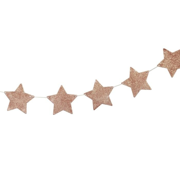 GINGERRAY ROSE GOLD STAR GARLAND ROSE GOLD STAR GARLAND WOOD GLITTER