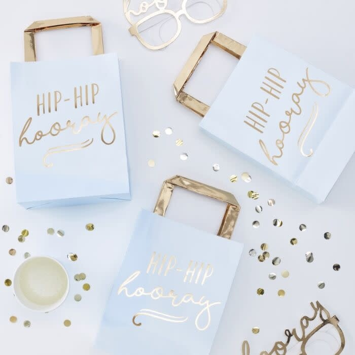 GINGERRAY Gold Foiled Hip Hip Hooray Blue Party Bags