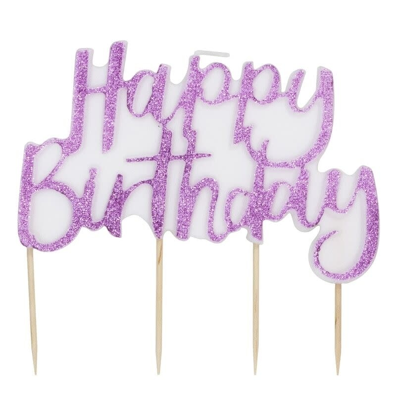 GINGERRAY Pink Glitter Happy Birthday Candle