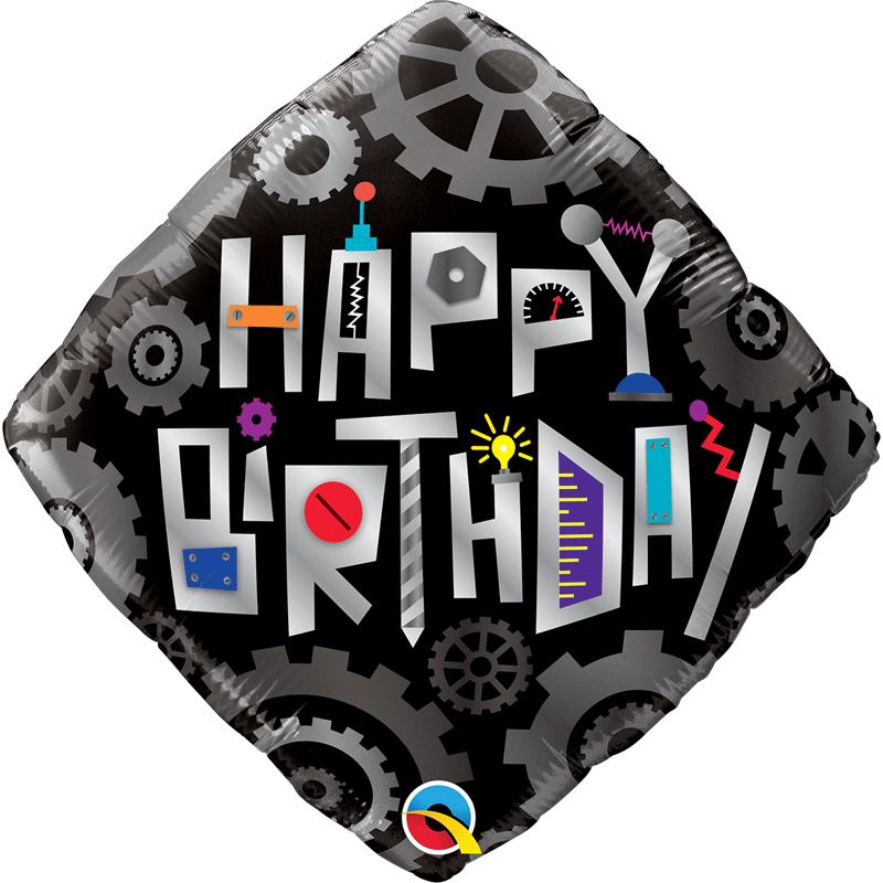 SMP birthday robot cogwheels foil balloon 45 cm