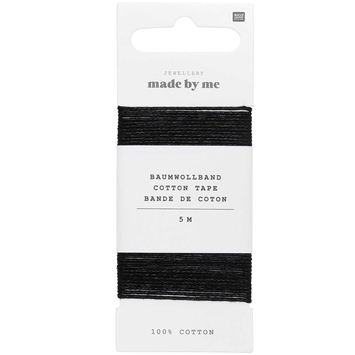 Rico NAY COTTON TAPE, BLACK 1MM X 5M, 100% COTTON
