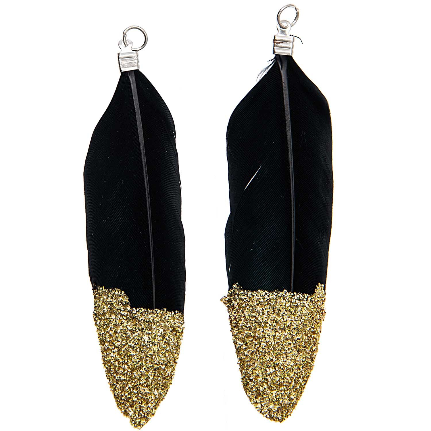 Rico NAY FEATHERS, GLITTER, BLACK/GOLD 2 PCS, WITH SILVER EYELET