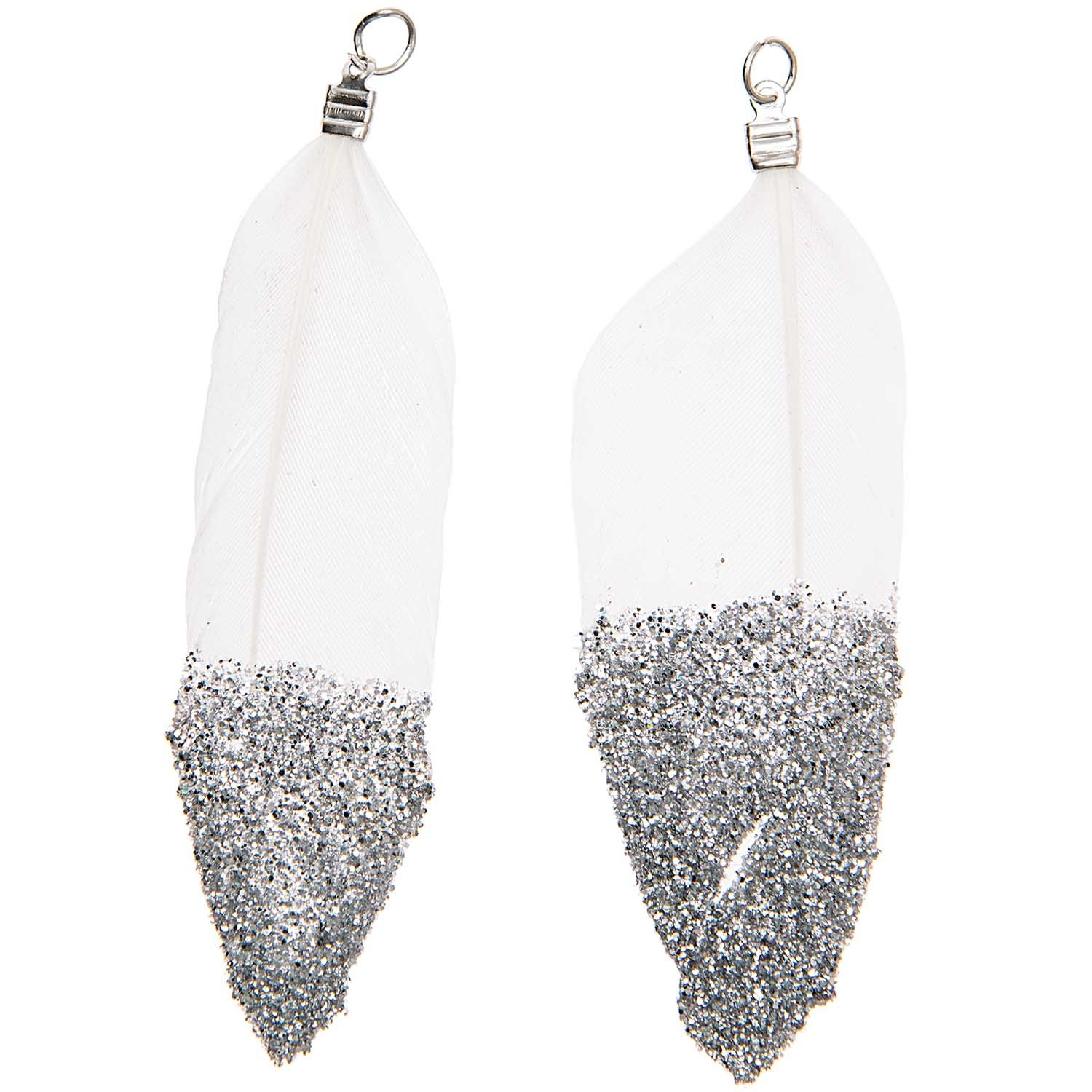 Rico NAY FEATHERS, GLITTER,WHITE/SILVER 2 PCS, WITH SILVER EYELET