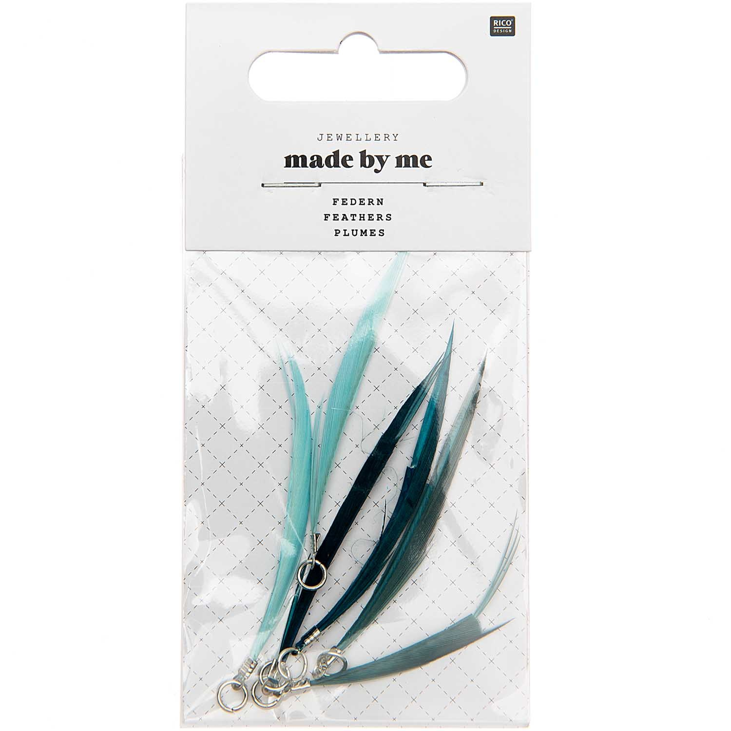 Rico NAY FEATHERS, TURQUOISE MIX 6 PCS, WITH SILVER EYELET