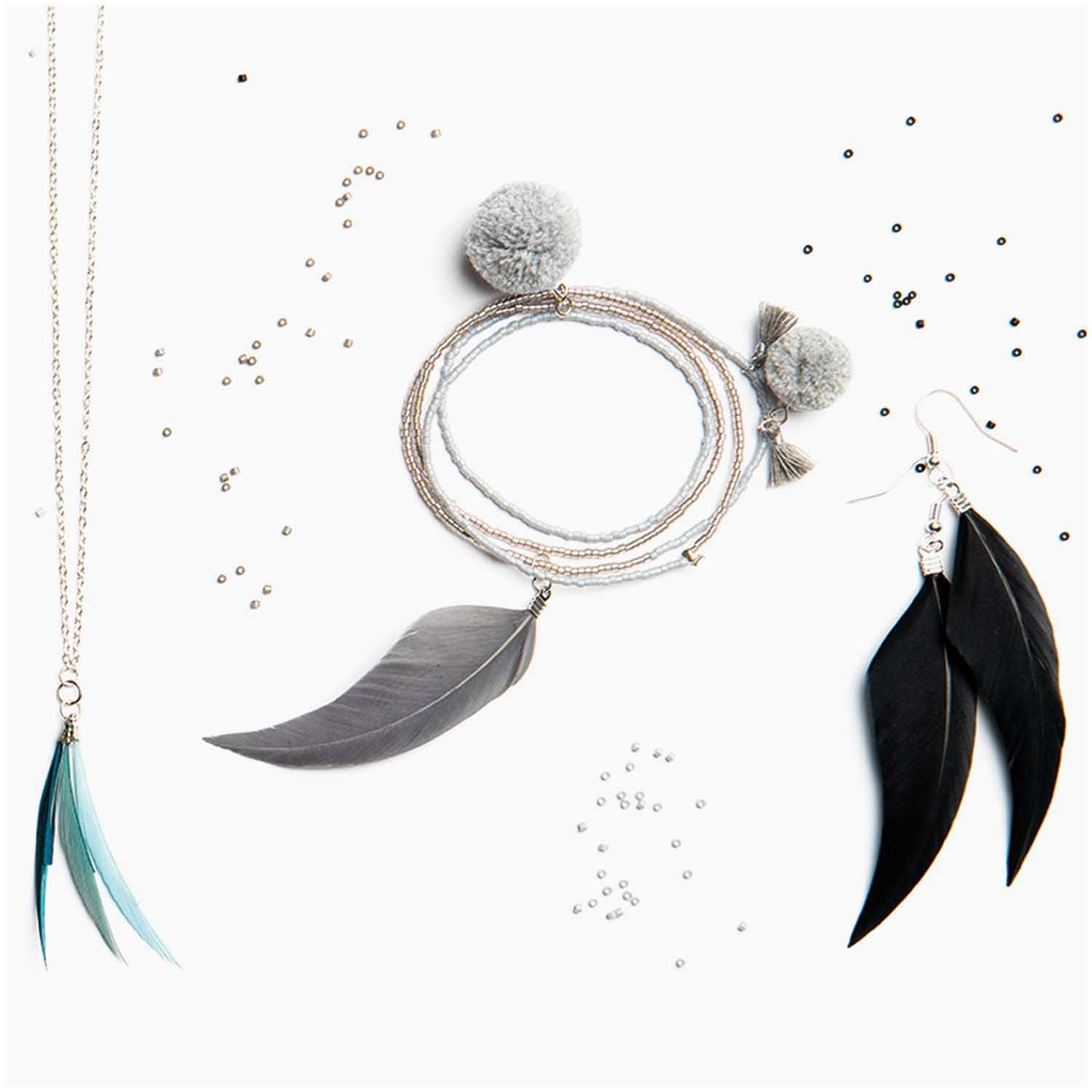 Rico NAY FEATHERS, MULTICOLOR MIX 6 PCS, WITH SILVER EYELET
