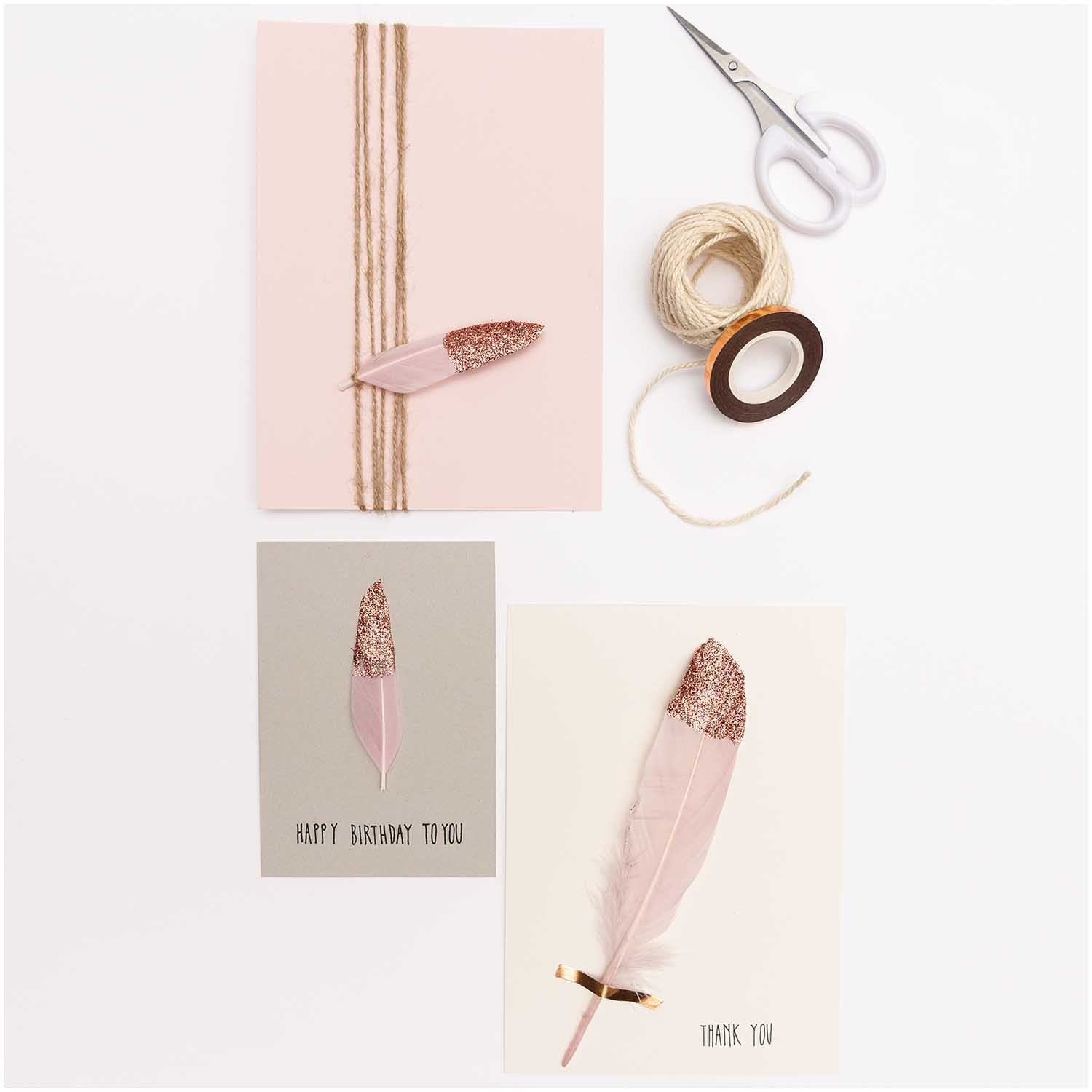 Rico NAY FEATHERS, PINK/ROSE GOLD 6 PCS, CA. 18 CM