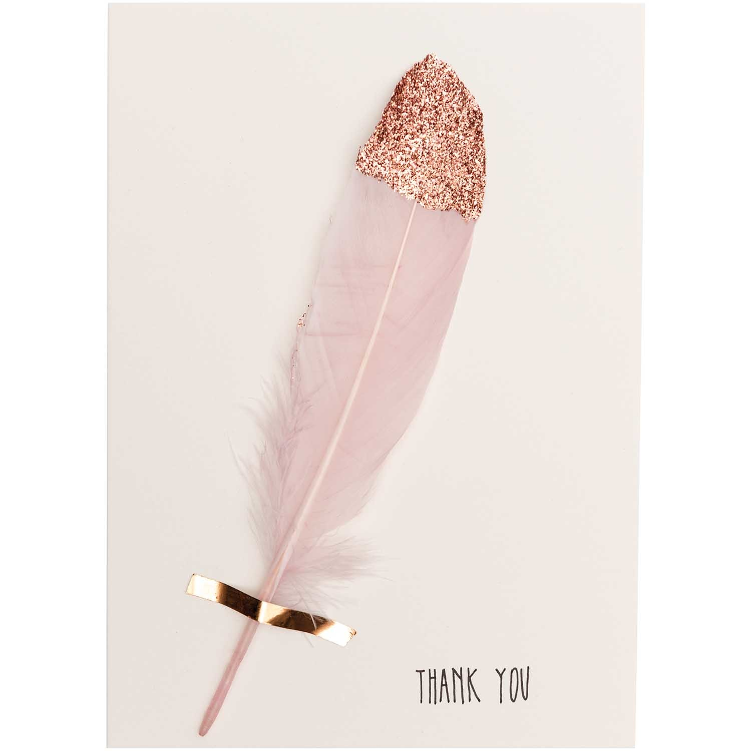 Rico NAY FEATHERS, WHITE/ROSE GOLD 6 PCS, CA. 18 CM
