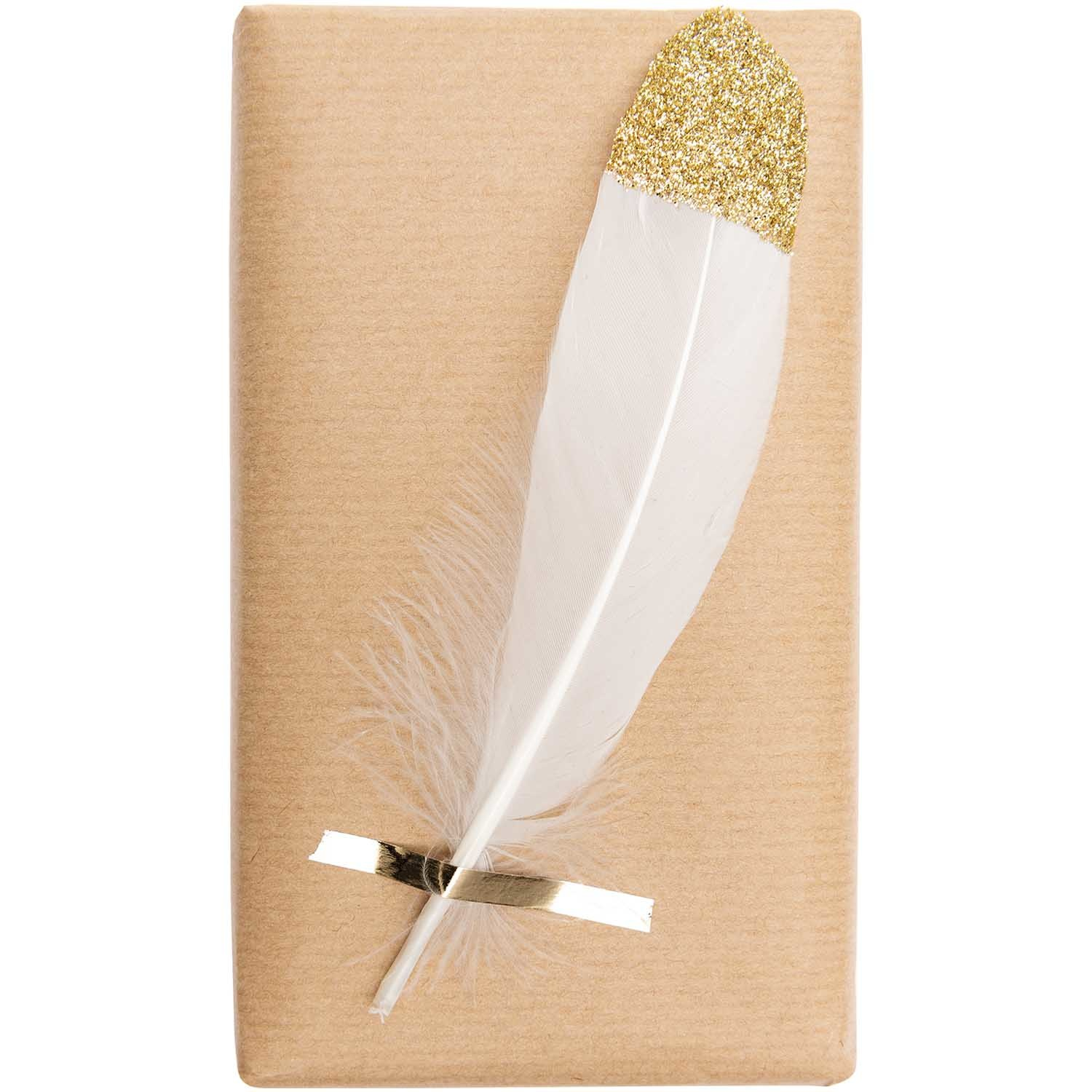 Rico NAY FEATHERS, WHITE/GOLD 6 PCS, CA. 18 CM
