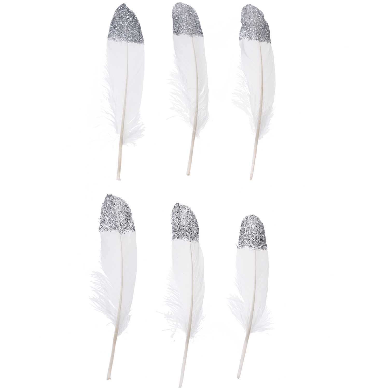 Rico NAY FEATHERS, WHITE/SILVER 6 PCS, CA. 18 CM