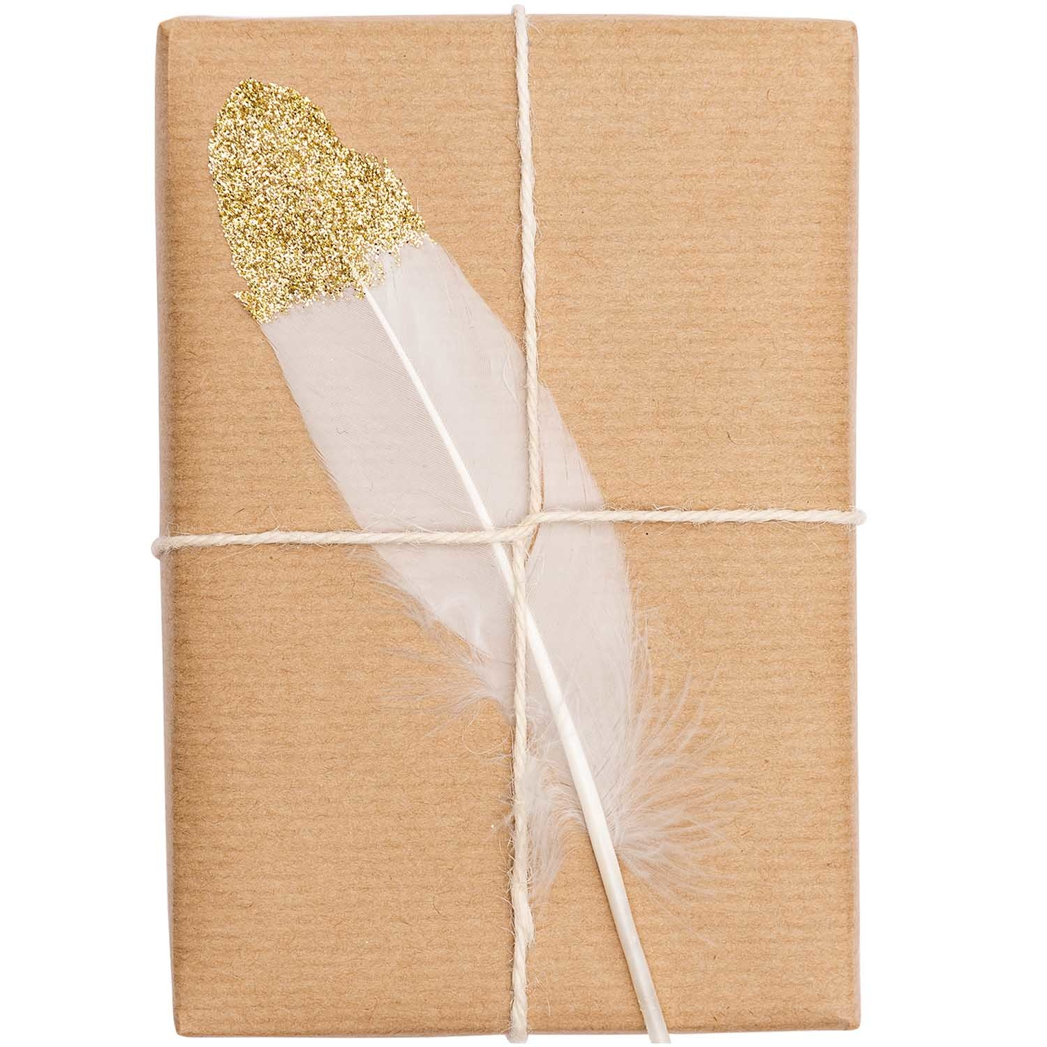 Rico NAY FEATHERS, SMALL, WHITE/GOLD 6 PCS, CA. 8 CM