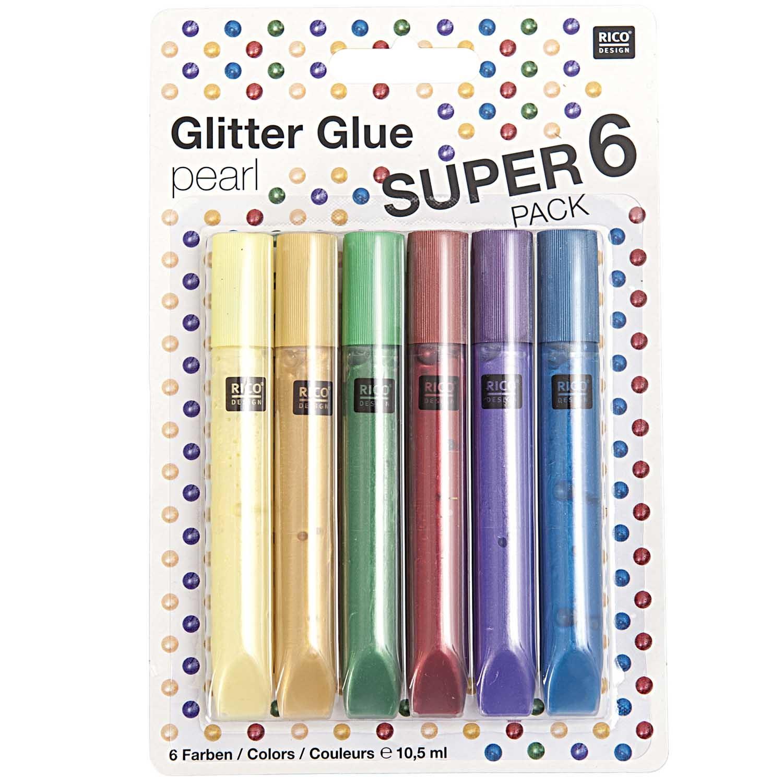 Rico NAY GLITTER GLUE PEARL, 6 TUBES 6 COLOURS A 10,5 ML