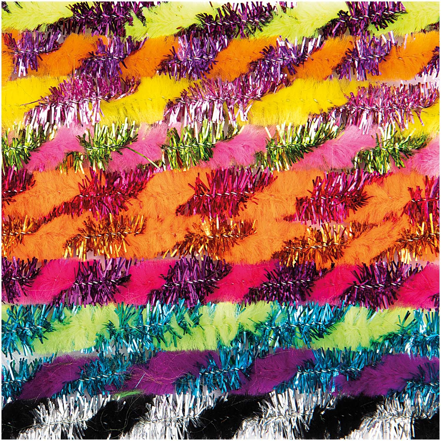 Rico NAY CHENILLE GLITTER MULTICOLOR, STRIPED 10 X 50CM, DIA 9MM