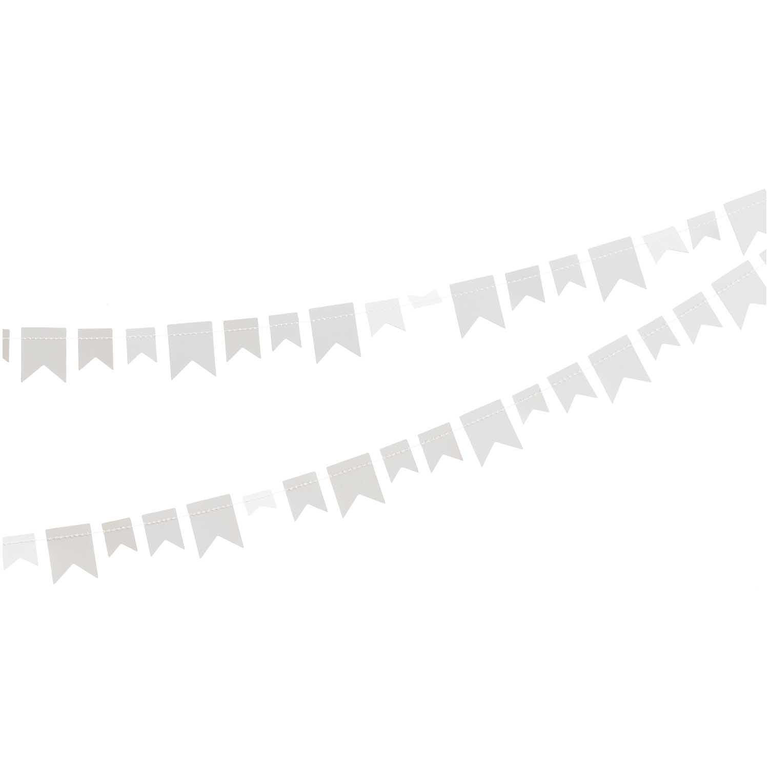 RICO PAPER GARLAND PENNANTS, WHITE 2,7 M