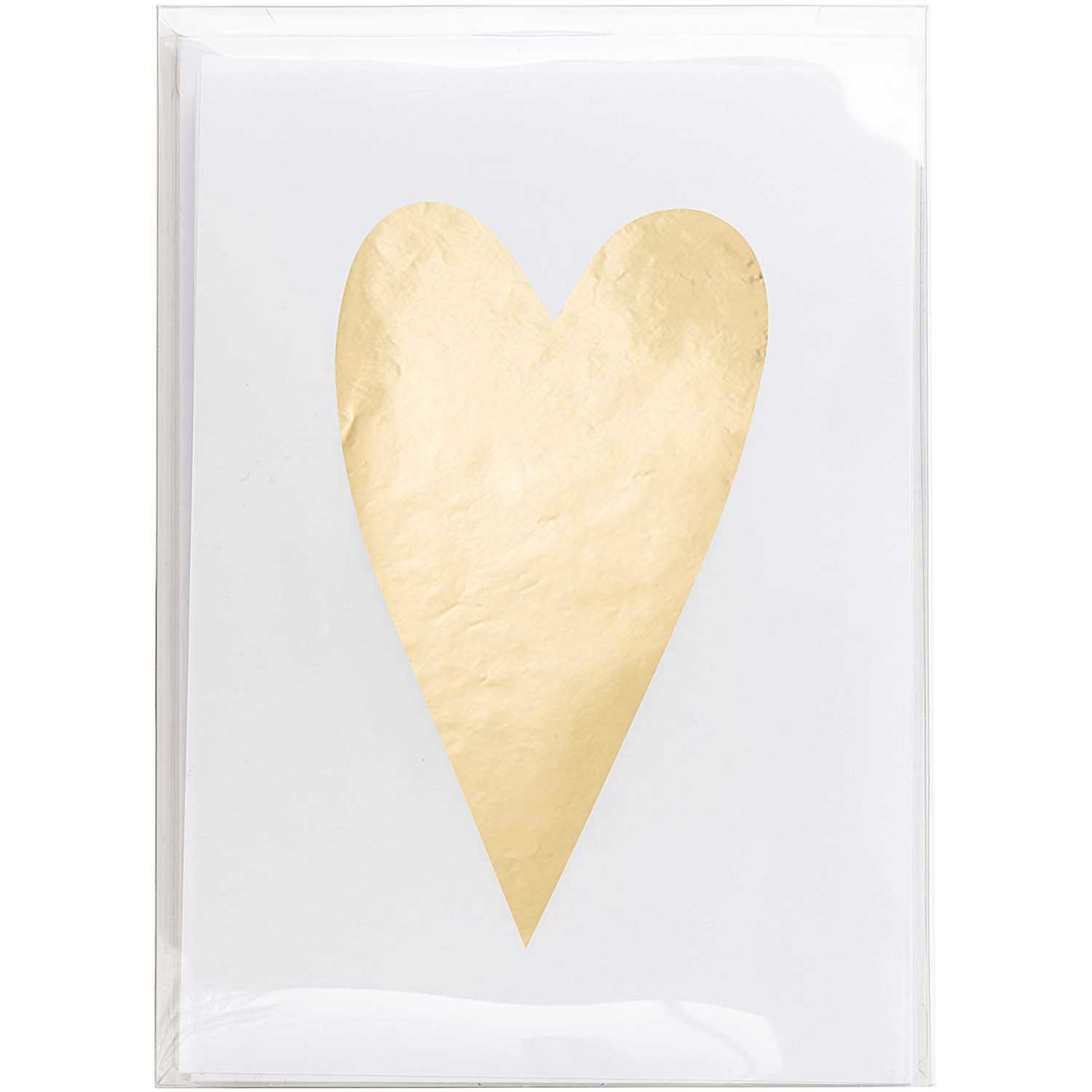 Rico NAY CARD SET, HEART, GOLD FSC MIX 10 CARDS / 10 ENVELOPES