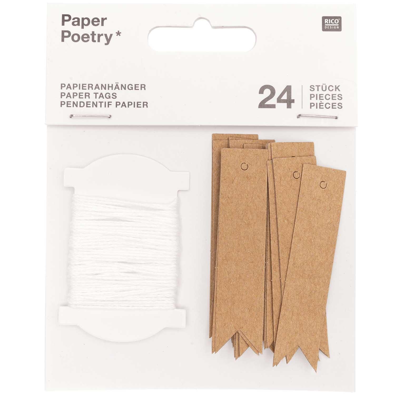 Rico NAY PAPER TAGS, KRAFT, LONG FSC MIX 24 PCS