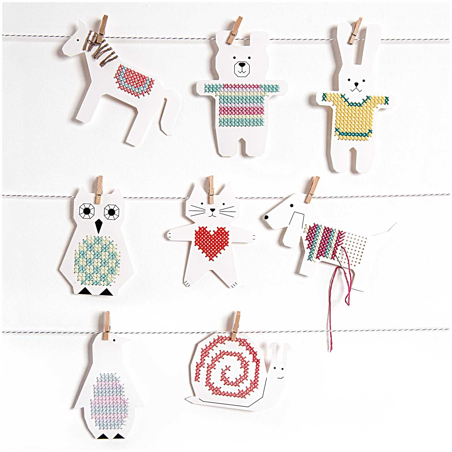 Rico NAY EMBROIDERY BOARD, PENGUIN/OWL 8 PCS, 20,5 X 12,5 CM