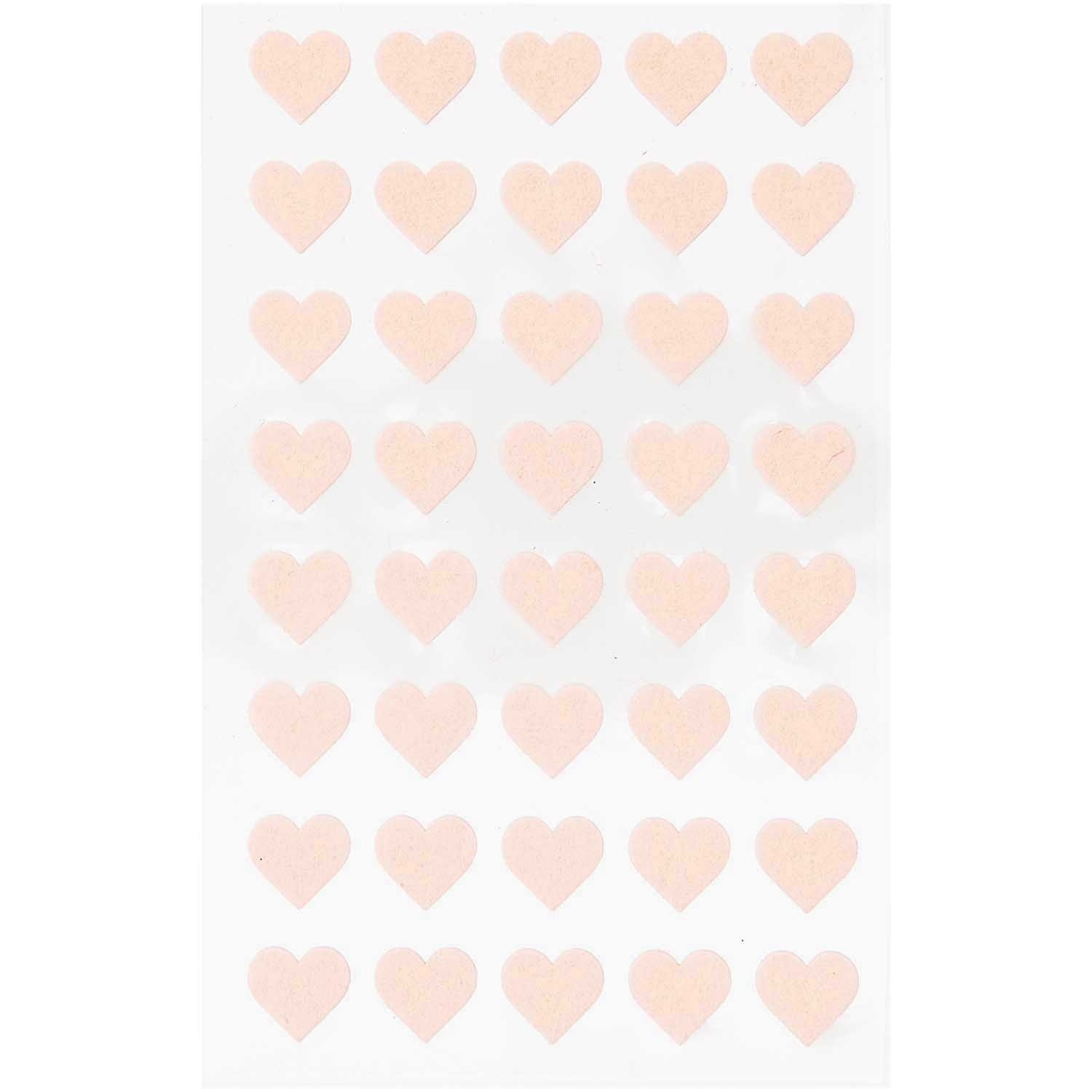 Rico NAY FELT STICKERS, HEARTS SMALL, POWDER 1 SHEET
