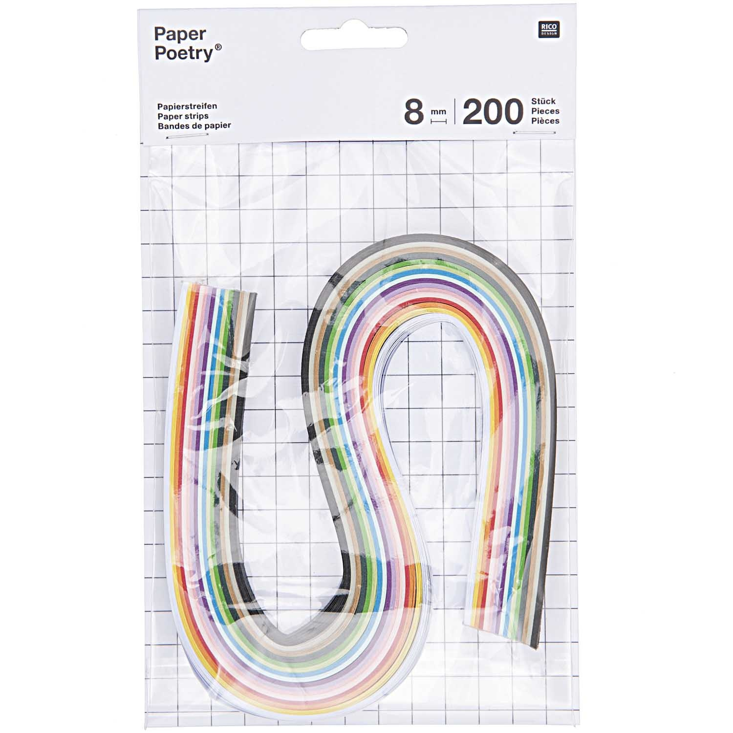 Rico NAY PAPER STRIPS 8MM, MULTICOLOR 200 PCS, 8 MM X 40 CM